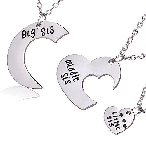 Ensemble de bijoux pour sœurs en 3pièces - Cadeau pour la famille - Avec « Big Sis », « Middle Sis », « Little Sis » écrit dessus - Pendentifs en forme de cœur