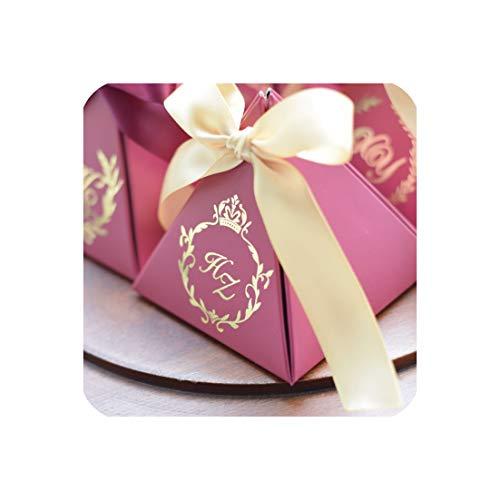 100Pcs New Customized Triangular Wine Red Geschenk-Box Papier-Süßigkeit-Kasten-Verpackung Geschenk-Beutel für Hochzeit Gunsten Dekoration Party Supplies,Gold (Hochzeit Gunsten Box-gold)