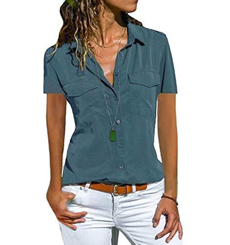 Damen Bluse Kurzarm Revers Kragen Hemdbluse V Ausschnitt Kurzarmshirts Blusen Einfarbig Business mit Knopfleiste Hemd Oberteile Elegant Sommer und Mode Sommer T-Shirt Top (S, BU)