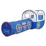 Sanqing Tienda para niños, Locomotora Tren Juego Carpa Túnel Juego Casa Ball Pit Car -Kids Play House For Outdoor Indoor Actividades interactivas para niños Juguete,Blue