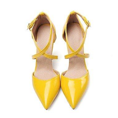 LXILX Sandales femmes Printemps Été Automne autre brevet robe en cuir noir boucle talon aiguille rose jaune beige blanc Beige
