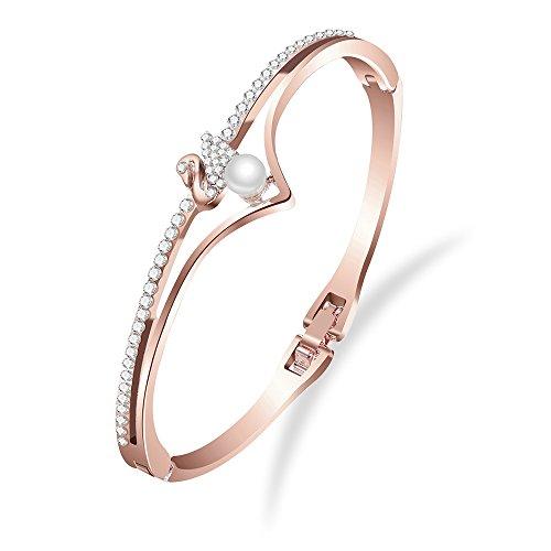Shining Diva Fashion 18k Rose Gold Stylish Bracelet for Women and Girls