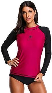ATTRACO Women's Long-Sleeve Rashguard UPF 50+ Swimwear Rash Guard Athletic