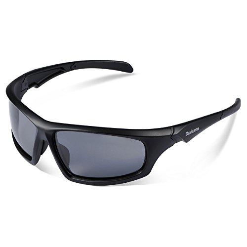 Duduma Gafas de Sol Deportivas Polarizadas Para Hombre Perfectas Para Esquiar Golf Correr Ciclismo TR821 Súper Liviana Para Hombre y Para Mujer (639 marco mate negro con lente negro)