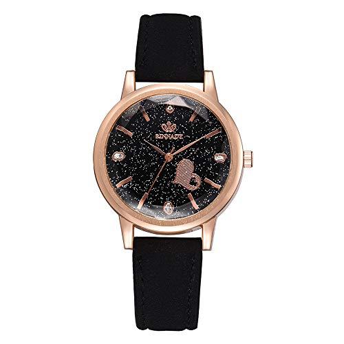Mode Neue Uhren,Janly unregelmäßige Spiegel Frauen Männer Uhren Leder Quarz Armbanduhr Luxus Marke Ultra-dünne Armbanduhr (Schwarz)