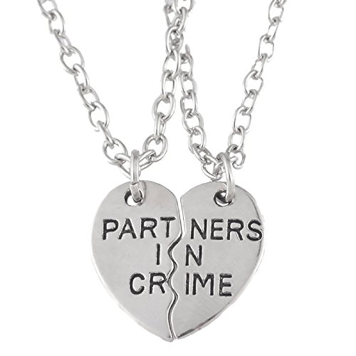 Herz Form Partner in Crime Paar Tiny Anhänger Halsketten Silber Farbe