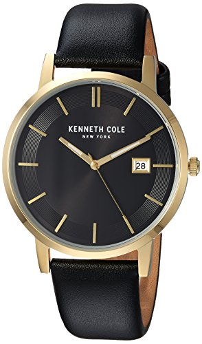 Kenneth Cole New York Men's Quartz Stainless Steel and Leather Casual Watch, Color:Black (Model: KC15202002)
