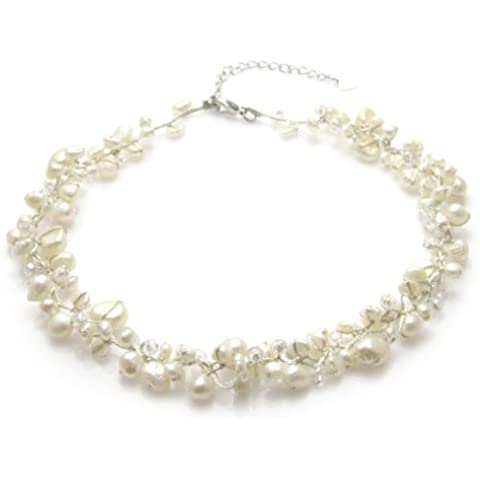 MGD - Bianco Perle coltivate d'acqua dolce con Cristallo Girocollo Collane - Collana di Seta (Handcrafted Perle)