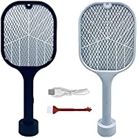 MEXPONE Indoor Electric Racket Mosquito Fly Swatters Killer Zapper Mosquitoes Lamp & Racket 2 in 1 USB Rechargeable…