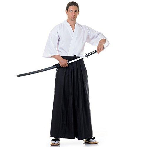 Princess of Asia Japan Samurai Iaido Outfit Set Kendo Gi Kimono & Hakama Hose (Schwarz & Weiß) Kimono Hose