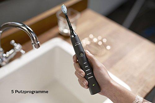 Philips Sonicare DiamondClean Neue Generation Elektrische Zahnbürste mit Schalltechnologie HX9359/89, Ladeglas, schwarz