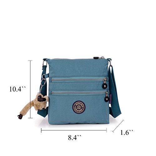 Honeymall Damen schwarz Nylon Multilayer Zipper Taschen Handtasche / Schultertasche / Umhängetasche mit Fee Anhänger(Navy blau) Ruß blau