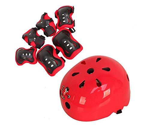 1Set (7) rot Kinder Sport-Skateboard Skate schutzausrüstungen Sicherheit Pad Safeguard (Head Knie Ellenbogen Handgelenk) Support Pad Set Ausrüstung -