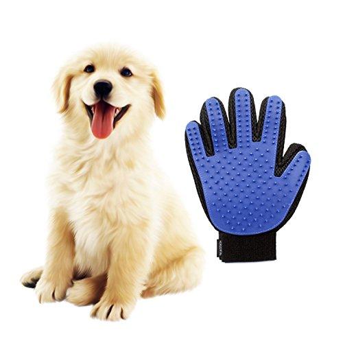 HORIZONTAL Guantes Manopla Masaje para mascotas de Retiro del pelo Perfecto y Aparato de masaje-Baño de cepillo y Suave Peine para Mascotas con Pelo Largo y Corto,perros, gatos, conejo,caballos (una mano)-azul