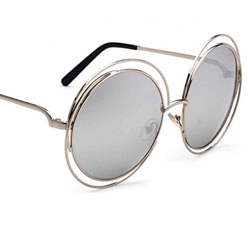 Masterein Männer Frauen rundes Feld UV400 Schutz Sonnenbrille-Harz-Objektiv-Metall-Legierung Unisex-Mode Sonnenbrillen C5 #
