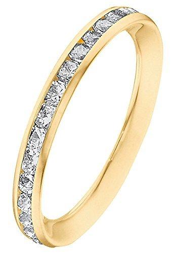 CHRIST Gold Damen-Ring 375er Gelbgold Zirkonia gold, 58 (18.5)