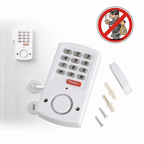 Tür- und Fensteralarm mit Panik- Funktion für Notfälle | kabellose Mobile Alarmanlage für Türen und Fenster | mit Magnetsensor und Tastatursteuerung | selbstklebend | lauter ca. 105 dB Alarmton