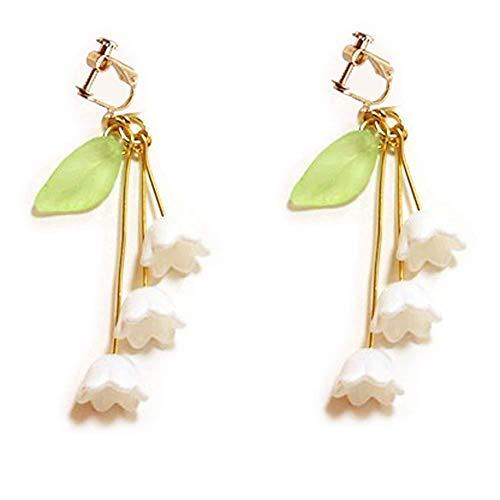 Einfache Art-Schraube wieder Klipp auf Ohrring-Klipp For No Piercing Tropfen baumeln Charm Blume Blatt -Tone Für Frauen Mädchen