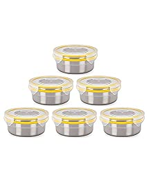 Steel Lock 1301 steel Airtight Storage Containers, 400ml, Set of 6 Assorted colors