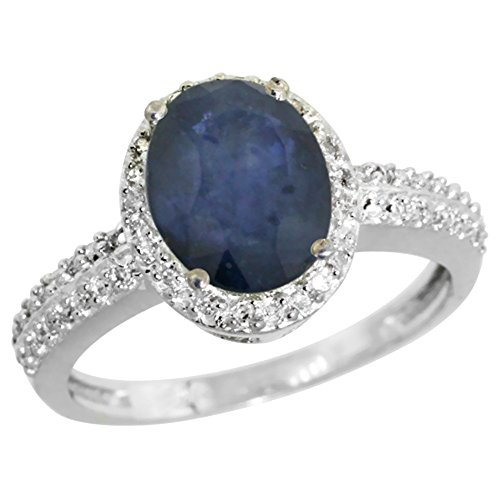 9ct White Gold Natural Diamond Blue Sapphire Ring Oval 9x7mm, sizes J - T