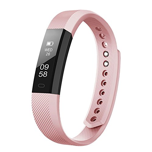 Fitness Tracker, LETSCOM Fitness Tracker Watch with Slim Touch Screen and Wristbands, Wearable Activity Tracker as Pedometer Sleep Monitor, Pink