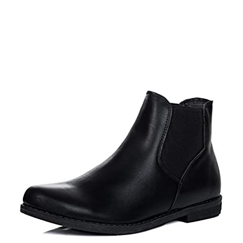 Flat Chelsea Ankle Boots Black Leather Style Sz 7
