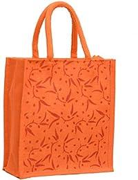 Orange Jute With Orange Small Leafs Printed With Orange Rope Handle Jute Burlap Lunch Tiffin Outdoor Handbag Bag...
