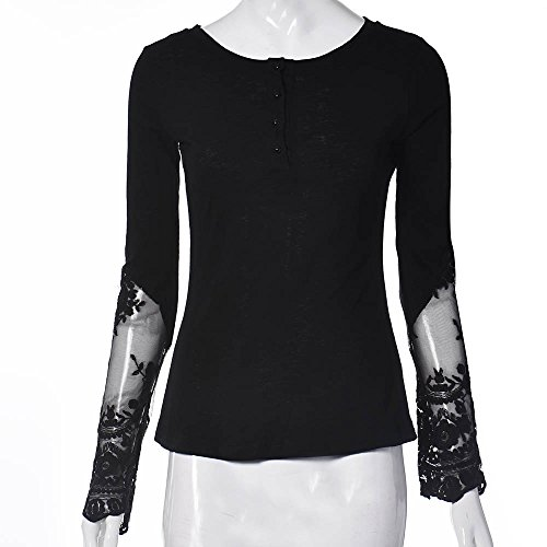 Top Manches Longues en Dentelle Transparente,OverDose Femme Sexy Col V Blouse Shirt Noir