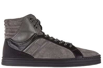 Hogan Rebel Scarpe Sneakers Alte Uomo in camoscio Nuove r141 Basket Grigio EU 41.5 HXM1410R283DWH0XD2
