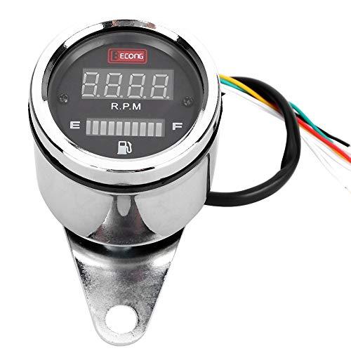 Outbit Drehzahlmesser - DC 12V Universal Motorrad Drehzahlmesser Kraftstoffanzeige LED-Digitalanzeige Tacho-Ölzähler