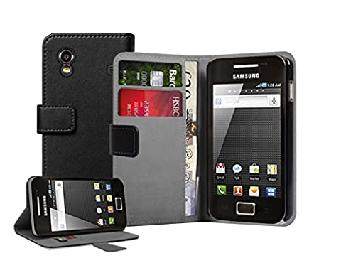 Noir Portefeuille Cuir Étui Coque pour Samsung S5830 Galaxy Ace (GT-S5830G / S5830M / S5830 / S5839i / S5831i) - Flip Case Cover