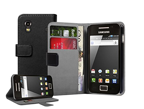 Membrane Nera Portafoglio Custodia in Pelle compatibile con Samsung Samsung Galaxy Ace (GT-S5830G / S5830M / S5830 / S5839i / S5831i) - Flip Case Cover