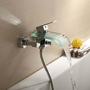 BBO zeitgenössische Badewanne Wasserhahn mit Glasauslauf (Wandmontage)