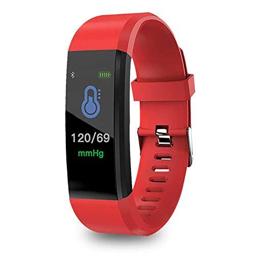 FOONEE ID115PLUS Fitness-Tracker, Fitness-Uhr mit Herzfrequenz-Monitor, Aktivitätstracker, Schlaf-Monitor, Schrittzähler, Kalorienuhr, IP67 Wasserdicht Smart Armband Schrittzähler (Rot) (Activity Polar Monitor)