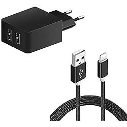 Sweet Tech 3.4A Chargeur Européen Adaptateur Double Port USB + Câble Micro USB - Noir pour Klipad 6 inch 3G 4G Smartphone
