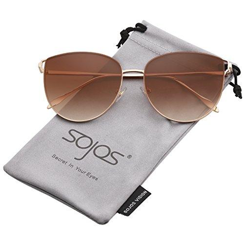 SOJOS Retro Runde Katzenaugen Sonnenbrille Mirrored Metall Flach Linsen SJ1085 mit Gold Rahmen/Verlauf Braun Linse