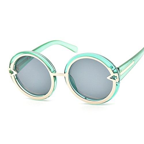 WKAIJC Metall Pfeil Mode Persönlichkeit Bequem Hoch Entwickelt Retro Runde Rahmen Reparatur des Gesicht Sonnenbrille,B