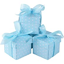 50Pcs Cajas de Papel de Bombones Regalos Detalles para Invitados de Boda, Fiesta, Comunion o Bautizo, Cumpleaños de Bebé con Cintas (Azul)