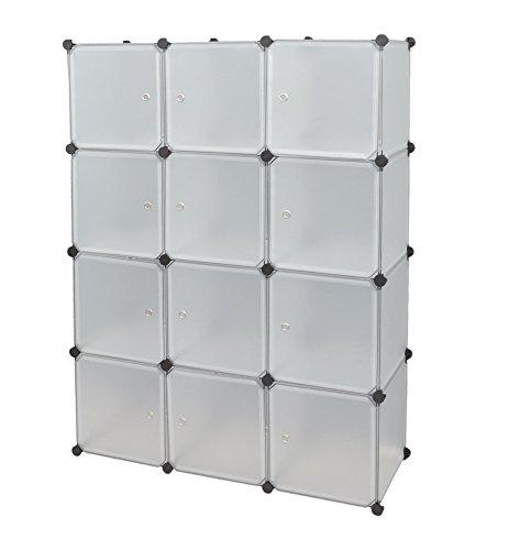 Ts Ideen 5121 armario modular con 12 compartimentos Conjuntos de puertas, polipropileno, White