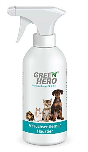 GreenHero Geruchsentferner Haustier Spray für Katze, Hund und Nager | 500 ml | Neutralisiert Gerüche wie Urin, Tiergeruch etc. | Hautverträglich