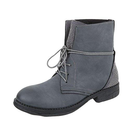 BH59 Bottines Lacet KB Bottines gris Chaussures Design a Bloc Bottes et Femme Ital wXPS4qOS
