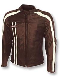 c585a83314e0 MITSOU Blouson Moto Vintage Homme Brown  Marron