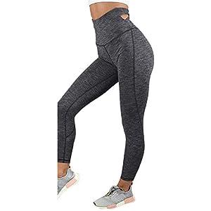 Hxuli Leggins Sport Damenelastische Yogahose Damen Einfarbig Hight Waist Bandage Leggings Sporthose Fitnesshose Yoga…