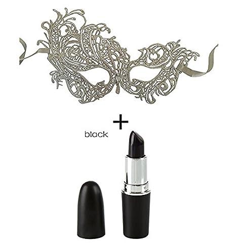 Petansy Halloween Black Lipstick + Halloween Masque de dentelle de bonne qualité pour Masquerade Party