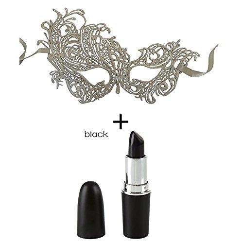 Petansy Halloween-schwarzer Lippenstift + Halloween-gute Qualitäts-Spitze-Schablone für Maskerade-Partei (Scary Kostüm Lady White)