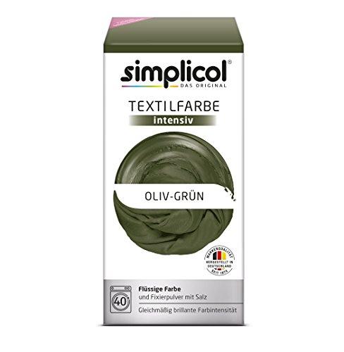 simplicol Textilfarbe intensiv (18 Farben) - Oliv-Grün 1814: einfaches Textilfärben in der Waschmaschine, Komplettpackung mit Färbemittel und Fixierpulver (Handwäsche, Viskose)