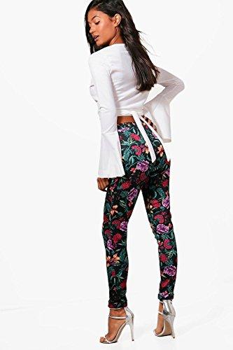Femmes Électrique Poppy Pantalon Skinny Stretch Floral Électrique