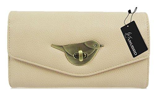 Kukubird Premium Uccello Chiusura Portafoglio Grande Signore Borsa Frizione Portafogli apricot