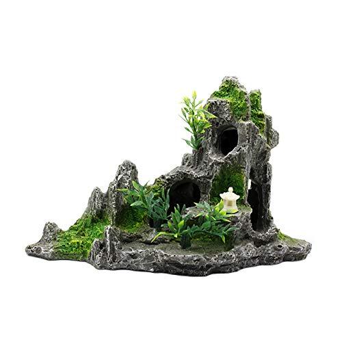 OMEM Reptilienversteck für kleine Tiere, Versteckhöhlen, Dekorative Landschaftsbau, Kunstharz, Steingarten, chinesischer Stil