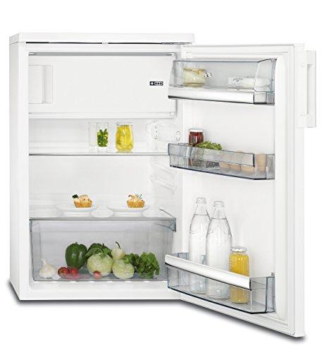 AEG RTB71421AW Kühlschrank / 133 l Kühlschrank mit Gefrierfach / 115 l Kühlraum / 18 l Gefrierfach / kleine Kühl-Gefrierkombination / freistehender Kühlschrank mit Glasablagen / A++ / H: 85 cm / weiß